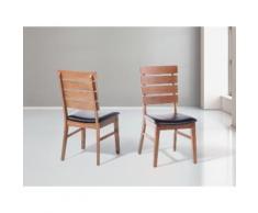 Sedia da sala da pranzo in legno e cuoio - DUMBO