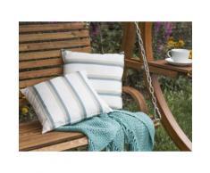 Cuscino decorativo da giardino con le strisce beige-azzurre 40 x 40 cm