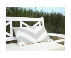 Cuscino decorativo da giardino con zigzag grigio-beige 40 x 70 cm