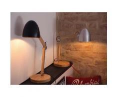 Lampada da tavolo in legno e metallo argentato VELEKA