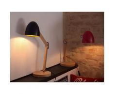 Lampada da tavolo in legno e metallo rosso VELEKA