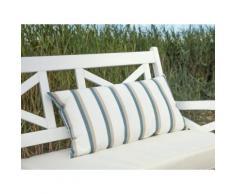 Cuscino decorativo da giardino con le strisce beige-azzurre 40 x 70 cm