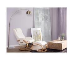 Poltrona massaggiante in ecopelle color beige con poggiapiedi MAJESTIC