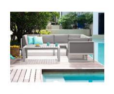 Divano angolare da giardino con tavolino in alluminio bianco VINCI