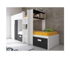 Letto a castello JULIEN - 2x90x190 cm - Armadio integrato - Bianco e nero