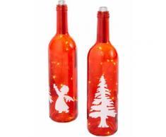Bottiglia decorativa con luci LED Albero di Natale (Rosso) - bpc living
