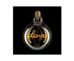 LAMPADINA FILAMENTO LED SCRITTA LOVE, DIMMERABILE: 4W ATTACCO E27 IN VETRO AMBRATO VINTAGE DLOVE