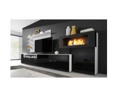 Set di mobili per soggiorno Olympo con camino a bioetanolo / Nero