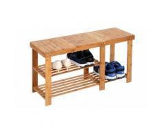 Scarpiera-panca in legno di bambù Miadomodo