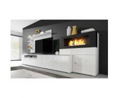 Set di mobili per soggiorno Olympo con camino a bioetanolo / Bianco