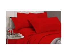Completo letto Satin Stripes matrimoniale: Rosso