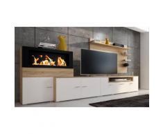 Set di mobili per soggiorno Olympo con camino a bioetanolo / Bianco opaco e rovere