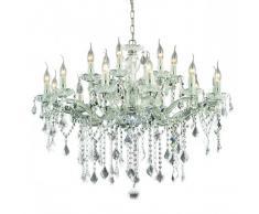 Ideal Lux Lampadario id-florian sp18 cromo nero e14 classico vetro cristallo molato gocce