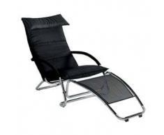 BONALDO poltrona a dondolo / chaise longue SWING (Cat. Capri Nero L09 - Pelle e acciaio cromato)