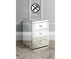My-Furniture LUCIA Comodino a specchio in vetro temprato e a 3 cassetti