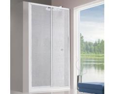 Porta doccia 115 cm scorrevole box per nicchia alluminio bianco pannello acrilico