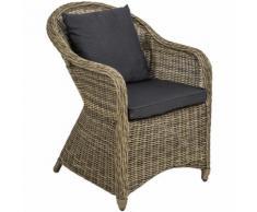 Poltrona deluxe in rattan e alluminio - sedia + cuscini su seduta e schienale naturale