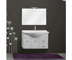 Mobile 85 cm sospeso bianco lucido lavabo ceramica con specchio e applique 2 ante e 2 cassetti bagno