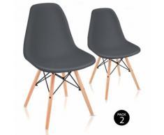 Pack 2 Sedie sala da pranzo Grigio Antracite con design nordico- McHaus