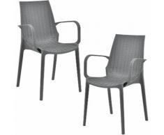 [[[casa.pro]]] 2 x sedie in ottica rattan (plastica) sedie da giardino con bracciolo (grigio scuro)