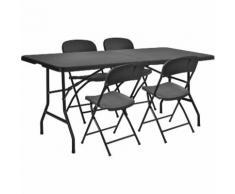 [[[casa.pro]]] Tavolo da Giardino Grigio 183x76cm con 4 Sedie Accessori Pieghevole