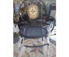 Sedia in ferro battuto con mosaico in pietra