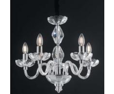 I-riflesso/5 - lampadario sospeso classico finiture cromate cristallo e14