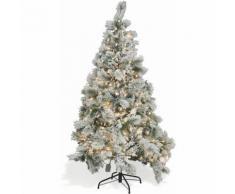 Albero Di Natale Luminoso Innevato 774 Rami 350 Led Bianco Caldo Ø110xh210 Cm Soriani Vienna