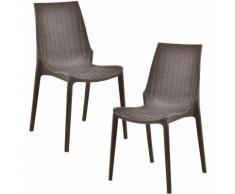 [[[casa.pro]]] 2 x sedie in ottica rattan (plastica) sedia da giardino (marrone)