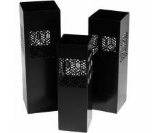 Set 3 Portaombrelli In Metallo 20x20h60cm Adami Geometrie Nero