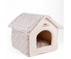Cuccia a casetta morbida in pellicciotto modello Soft Line per cani e gatti - Beige