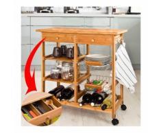 SoBuy Carrello Cucina,Credenza Cucina,Mobile Cucina,Legno,Con Route,Fkw06-N