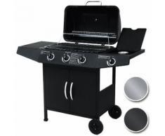Barbecue bbq a gas con griglia 3 bruciatori 1 fornello 1 piano d'appoggio cTuv