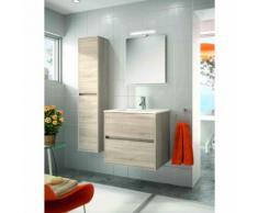 Mobile bagno sospeso 600 in legno marrone Caledonia con lavabo Noja | Con specchio e lampada LED