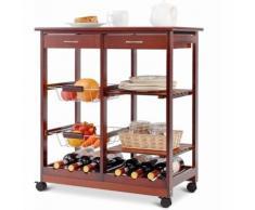 Carrello da Cucina con Ruote Carrello con Due Cassetti Portabottiglie Cestini di Frutta Ripiani in