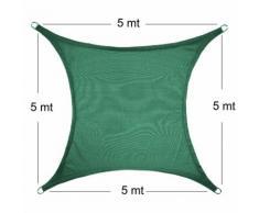 Vela Parasole Ombreggiante Quadrata 5x5x5 mt Verde