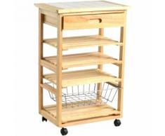 Carrello da cucina in legno con tre piani un cestello un cassetto
