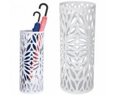 Portaombrelli Ferro Design BAKAJI7W Rotondo Stand Bianco Vaschetta Salvagoccia