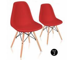 Pack 2 Sedie sala da pranzo Rosso con design nordico- McHaus