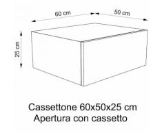 Cassettone Arredo bagno | 60x50x25 cm - Rovere Vintage - Push pull