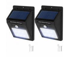 2 lampade LED a muro, a energia solare con sensore di movimento