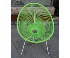Sedia poltrona da esterno in poli rattan bar giardino casa hotel verde papillon