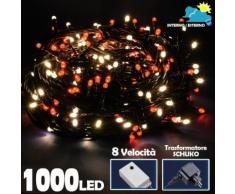 Catena Luminosa 1000 Luci LED Albero di Natale Lucciole Bianco Caldo Rosso Ester