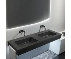 Top con doppio lavabo integrato effetto Ardesia 150X50 cm realizzato in marmo resina Relax Design