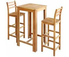 Tavolo e Sedia per Bar Set 3 pz in Legno di Acacia Massello