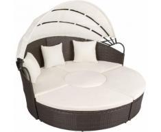 divano prendisole in alluminio e rattan marrone anticato