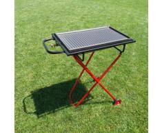 Barbecue a gas pieghevole con ruote e bistecchiera griglia in ghisa 60x40+omaggi