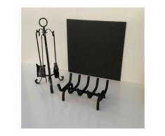 Set camino composto da lastra in ghisa + brucialegna + trespolo attrezzi fuoco scegli il set: set