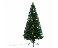 HomCom Albero di Natale in Fibra Ottica con 28 luci LED a forma di Stella 180cm