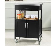 SoBuy® Carrello cucina, carrello da servizio con piano in acciaio, colore:nero, FKW22-SCH. IT